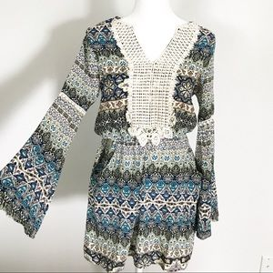 Altar'd State Boho crochet Bell Sleeve Dress